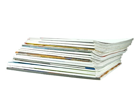 heap: Stack of old periodicals with a blank cover with room for your text, isolated on white Stock Photo
