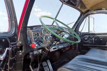 Close up of the interior of an antique Mack truck B-61 Thermodyne from 1957