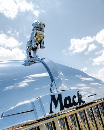 wheeler: Close up of the Bulldog hood ornament on a antique Mack truck B-61 Thermodyne from 1957 Editorial