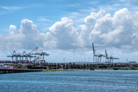 Overview of the Port of Miami with several cranes