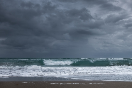 major ocean: Close-up of the Florida shoreline on the Pacific Ocean side right before a major downpour