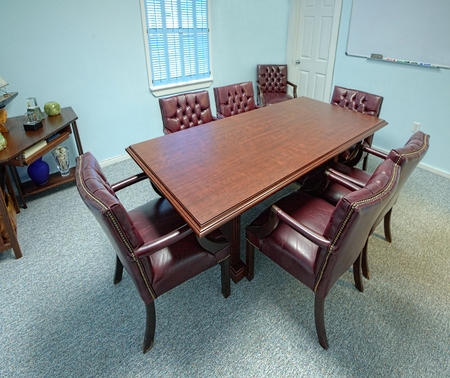 Overview of a small meeting room as usually found in small office buildings  Stock Photo