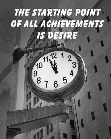Motivational quote about live by an unknown author, on a downtown street clock at a few minutes before twelve