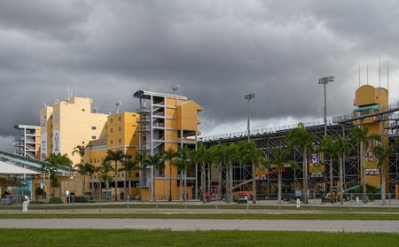 Homestead, FLORIDA - October 15, 2014: View of the speedway in Homestead, Florida. This racetrack is used for the last race of the year for the NASCAR sprint cup championship, the Ford Ecoboost 400