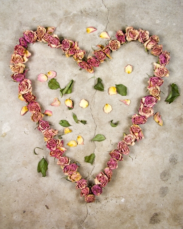 a heart made with old dried up flowers on a cold cracked concrete floor Фото со стока