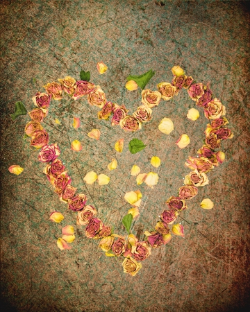 dried up: a heart made with old dried up flowers on a textured background Stock Photo