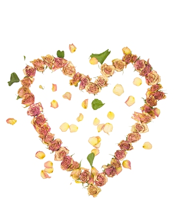 a heart made with old dried up flowers on a white background Фото со стока