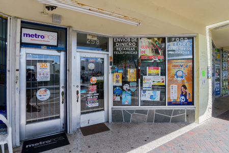 general store: Homestead, FLORIDA - August 04, 2015: Hispanic storefront where people in the local Hispanic community can purchase a variety of goods and services.