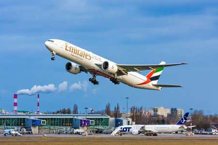 Warsaw / Poland Jan.03.2019: Operator: Emirates Airlines reg. A6-ENP, Aircraft / Airplane: Boeing 777-300ER, Airport: Poland - Warsaw - Frederic Chopin (WAW / EPWA)