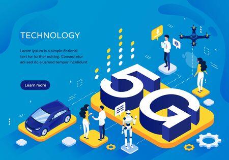 Concepto de red celular 5G, plantilla pictográfica para una mayor velocidad de comunicación con personas en diversas actividades, un robot y un automóvil alrededor de letras 3D, ilustración vectorial isométrica