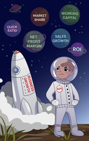 Business growth concept. A businessman in a space standing with folded arms above rocket lifting off, looking thoughtfully at planets with the names of the financial parameters
