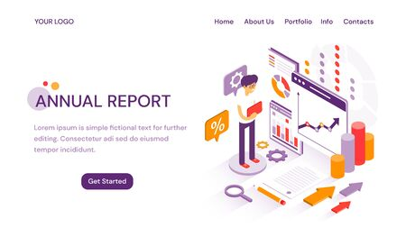 Annual Report online website template for delivering year end analytics and finances with copy space for text and illustration Иллюстрация