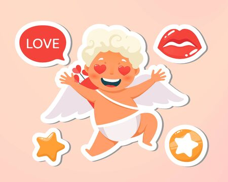 Greeting card. Holiday, event, wedding, festive letter. Beautiful happy cupid flying in clouds. Blonde angel holding with speech bubble. Vecor illustration. Isolated on pink background