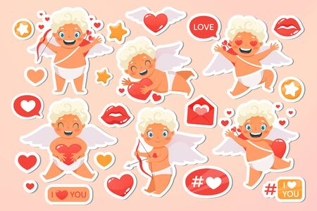 Beautiful happy cupid flying in clouds. Angel congratulates on holiday. Valentines Day set cards. Wedding, oliday, event, festive collection letters. Vecor illustration. Isolated on pink background. Vetores