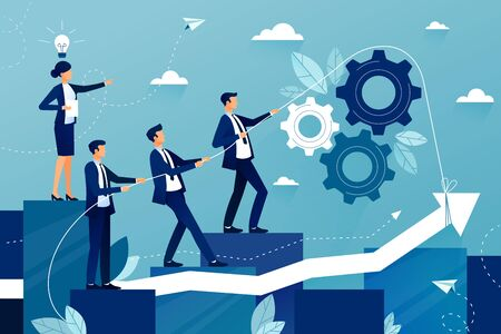 Concept of teamwork in business company. Business team walking to success. Female boss showing way to future success. Mutual support and assistance in work. Vector colorful illustration Vetores