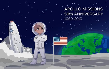 American astronaut standing on the moon alongside the USA flag with a rocket in the background commemorating the Apollo Missions 50th Anniversary. Earth rising in the background. Cartoon style. Vector