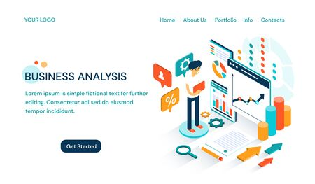 Business Analysis website template design with space for text and a cartoon businessman doing a presentation