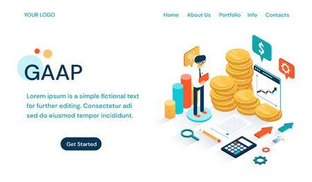 GAAP - Website-Vorlage für allgemein anerkannte Rechnungslegungsgrundsätze Vektorgrafik