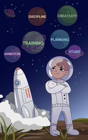 Personal growth concept. A young man in a space standing with folded arms looking thoughtfully at planets with planning, creativity, ambition, study, discipline text above a rocket lifting off
