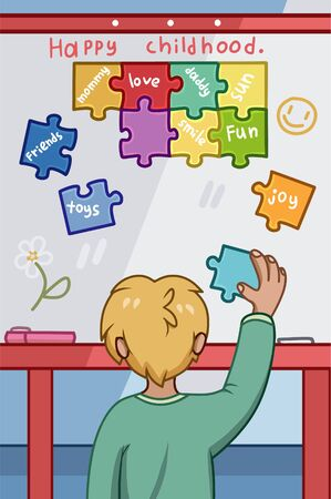 Happy Childhood concept with young boy placing colorful puzzle pieces