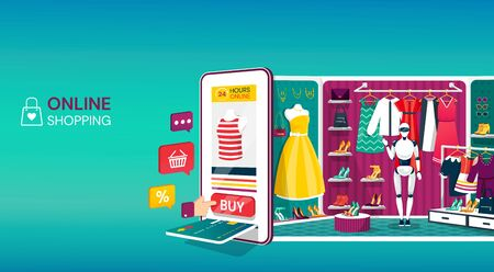 Online shopping concept for website, mobile application. Shopping cart, buttons, payment slot with credit card and a rear display of garments and accessories in a shop. Vector isometric illustrration.