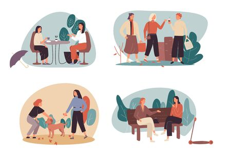 Set of four Free Time or Leisure cartoon illustrations with women enjoying coffee together, walking in an urban park, walking the dog and sitting chatting on a park bench. Flat Vector illustration.