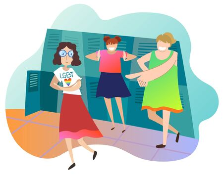 Teenagers mocking female classmate at school. Girl student is lesbian. Concept of infringement of rights of LGBT community. Adolescent violence, mockery. Bullying. Colorful vector illustration Illustration