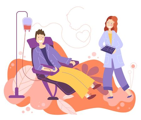 Man receiving a blood transfusion in a hospital with a young female nurse in attendance in a healthcare or donate blood concept, flat colorful cartoon vector illustration Çizim