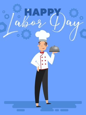 Happy Labor Day greeting card design with chef holding a food dome in his hand below text on blue with gear wheels in a cartoon vector illustration. Ilustração