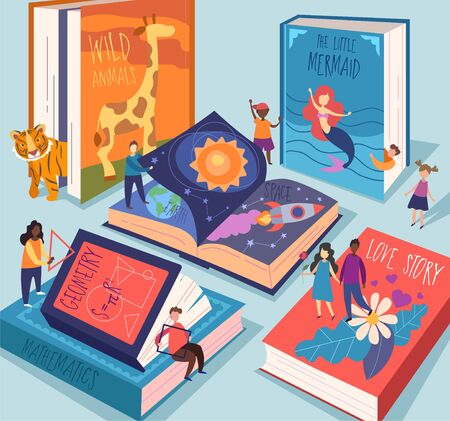 Cute tiny people reading different giant books and textbooks. Concept of book world, readers at library, literature lovers or fans. Colorful vector illustration in flat cartoon style. Illusztráció