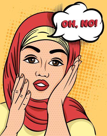 Hübsche muslimische Frau im Hijab, die ausruft - Oh, nein, die Hände mit einem besorgten Ausdruck an die Wangen heben, farbenfrohe Pop-Art-Vektorillustration. Vektorgrafik