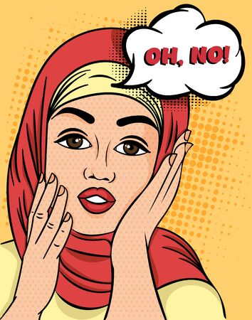Pretty Muslim Woman in hijab exclaiming - Oh, No raising her hands to her cheeks with a concerned expression, colorful Pop Art Vector illustration.