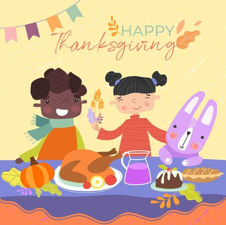 Kids are enjoying Thanksgiving dinner with their pet rabbit sitting down to a roast turkey and pudding at the table with text and decorations, vector illustration. Illustration