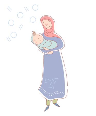 Loving young muslim mother wearing a headscarf and traditional musllim dress cradling a newborn baby boy wrapped in blue in her arms isolated on white. Vector illustration. Illusztráció