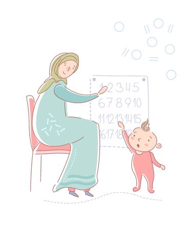 Young muslim mother wearing a headscarf and traditional muslim dress teaching her young daughter numbers from a wall chart in preschool. Vector illustration. Ilustração