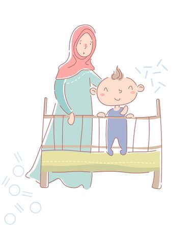 Cute happy little baby boy in a crib or cot with his young mother in hijab and traditional muslim clothes standing behind him in the nursery. Vector illustration.