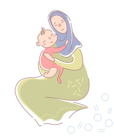 Loving young muslim mother in hijab and traditional dress seated protectively hugging a smiling happy baby daughter in pink on her lap isolated on white. Vector illustration