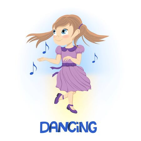 Niña feliz en vestido morado bailando cerca de notas musicales flotantes
