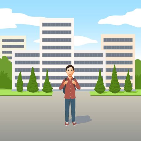 Young Latino boy with school bag or backpack standing outdoors in the road in front of high-rise apartment blocks Illustration