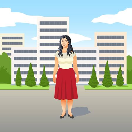 Pretty young Latino woman in a stylish red skirt standing smiling in the street in front of a development of apartment blocks in a city