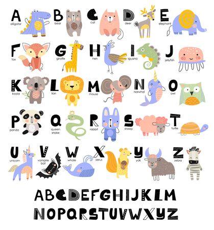 Zabawny alfabet dla małych dzieci z imionami i zdjęciami zwierząt przypisanymi do każdej litery. Nauka języka angielskiego dla dzieci koncepcja z czcionką czarnymi literami w wektorze. Ilustracje wektorowe