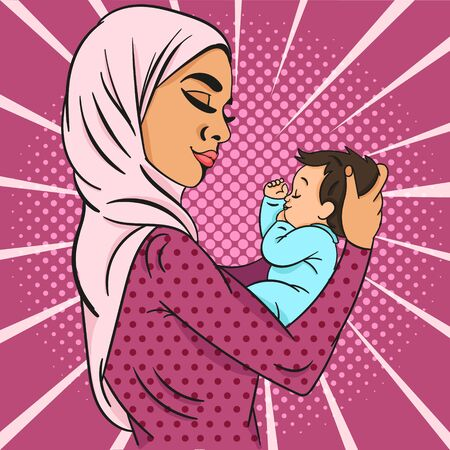 Pop-art Vector illustration of Cute young muslim mother in hijab gently holding the baby in her arms over purple background. 版權商用圖片 - 128521439