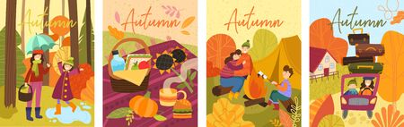 Set of four colorful depictions of autumn life with happy people spending time outdoors.
