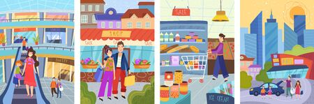 People in a big city. Vector illustrations of people and families in the store for shopping and on the streets of the city. Freehand drawings for poster, card and cover