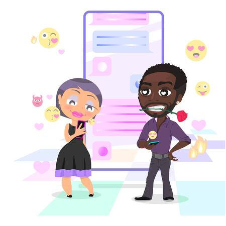 Pretty woman is chatting with handsome man with smartphone. Dating and virtual relationship concept. Chat bubbles and emojis on the background. Vector illustration.