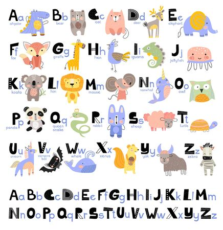 1Funny Alphabet for young children with names and pictures of animals assigned to each letter. Learning English for kids concept