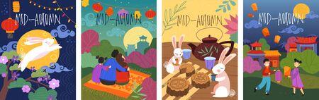 Conjunto de cuatro diseños de carteles de mediados de otoño de dibujos animados coloridos que representan un conejo saltando, una fiesta de té de conejitos y una familia con linternas de papel brillantes en un paisaje asiático