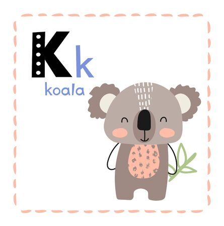 Letter K. Funny Alphabet for young children. Learning English for kids concept with a font in black capital letters in vector.