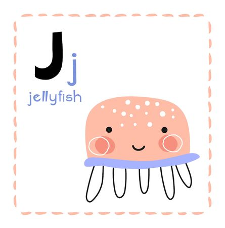 Letter J. Funny Alphabet for young children. Learning English for kids concept with a font in black capital letters in vector. Foto de archivo - 129458061