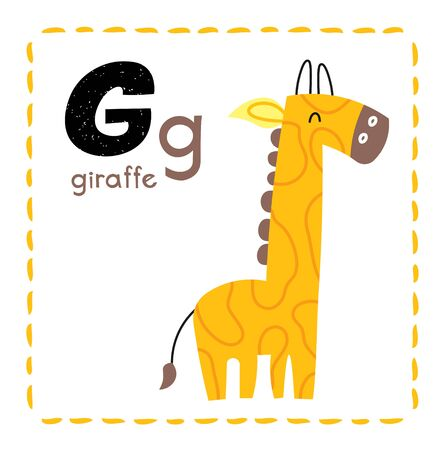 Letter G. Funny Alphabet for young children. Learning English for kids concept with a font in black capital letters in vector. Foto de archivo - 129458062